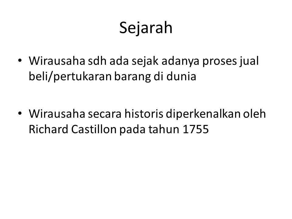 Sejarah Wirausaha sdh ada sejak adanya proses jual beli/pertukaran barang di dunia Wirausaha secara historis diperkenalkan oleh Richard Castillon pada tahun 1755