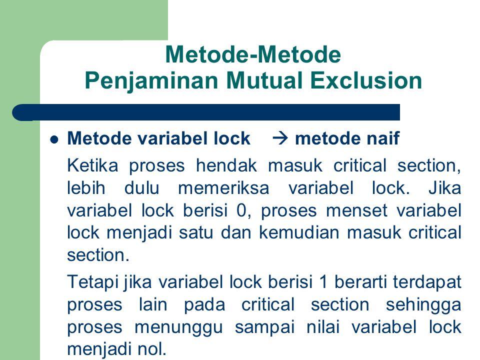 Metode-Metode Penjaminan Mutual Exclusion Metode variabel lock  metode naif Ketika proses hendak masuk critical section, lebih dulu memeriksa variabel lock.
