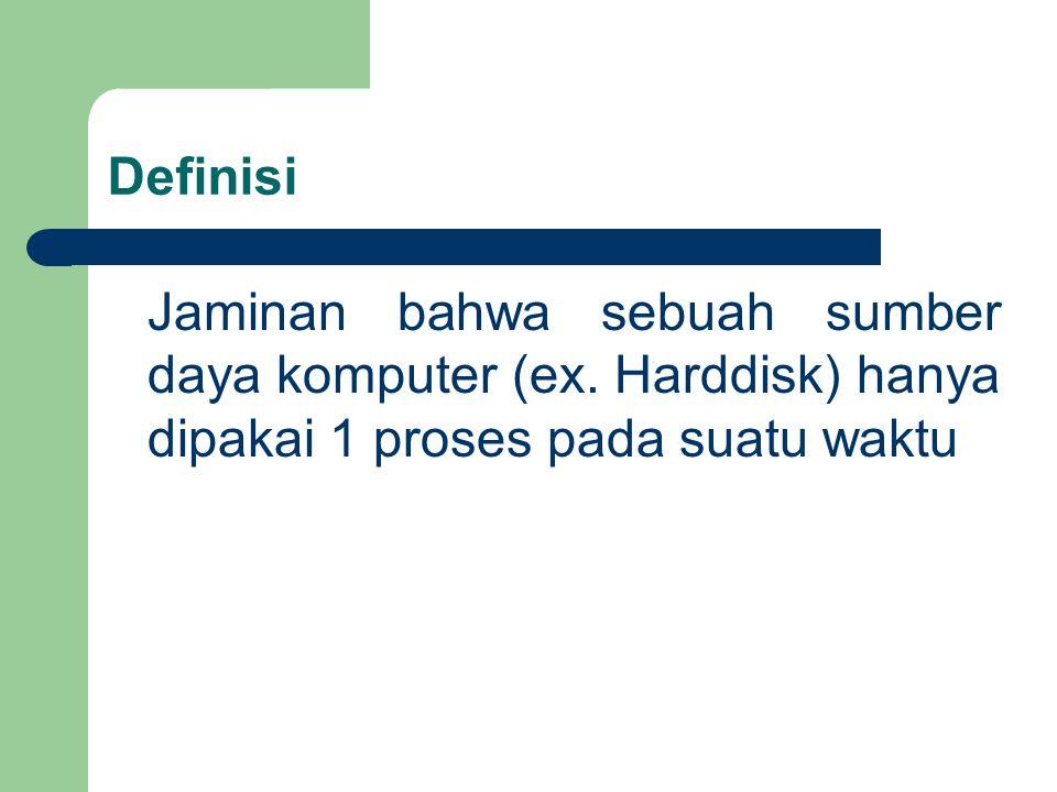 Definisi Jaminan bahwa sebuah sumber daya komputer (ex.