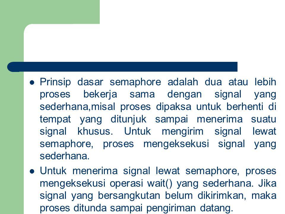 Prinsip dasar semaphore adalah dua atau lebih proses bekerja sama dengan signal yang sederhana,misal proses dipaksa untuk berhenti di tempat yang ditunjuk sampai menerima suatu signal khusus.