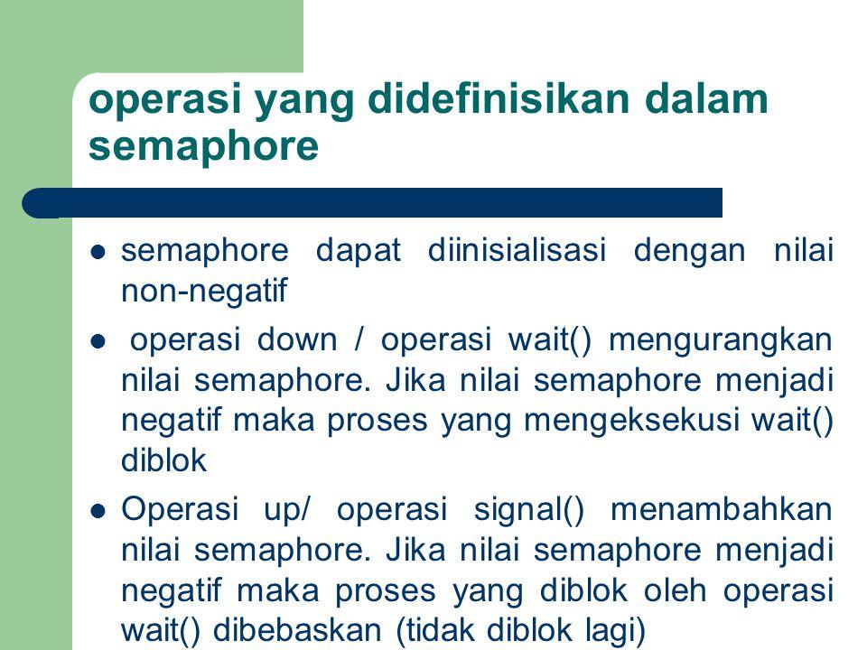 operasi yang didefinisikan dalam semaphore semaphore dapat diinisialisasi dengan nilai non-negatif operasi down / operasi wait() mengurangkan nilai semaphore.