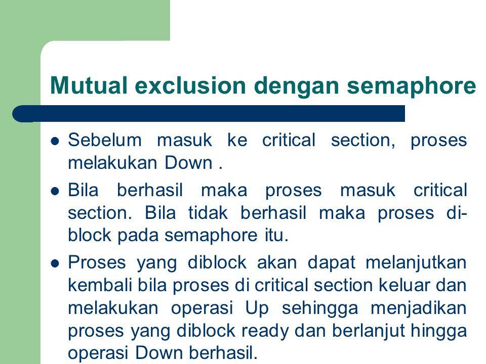 Mutual exclusion dengan semaphore Sebelum masuk ke critical section, proses melakukan Down.