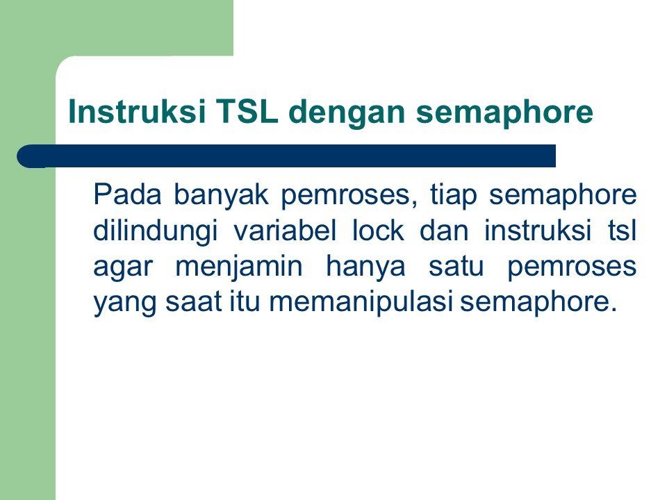 Instruksi TSL dengan semaphore Pada banyak pemroses, tiap semaphore dilindungi variabel lock dan instruksi tsl agar menjamin hanya satu pemroses yang saat itu memanipulasi semaphore.