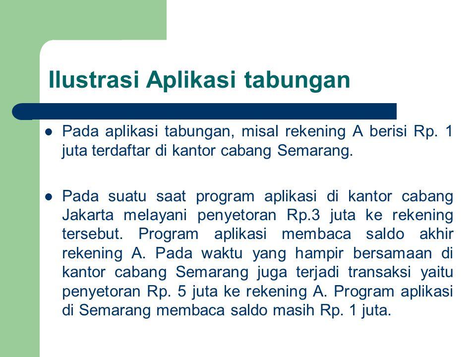 Beberapa skenario dapat terjadi bila mutual exclusion tidak terjamin : Program aplikasi di Semarang dilakukan secara cepat menulis ke rekening A sehingga dihasilkan Rp 6 juta.