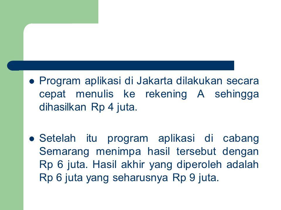 Program aplikasi di Jakarta dilakukan secara cepat menulis ke rekening A sehingga dihasilkan Rp 4 juta.