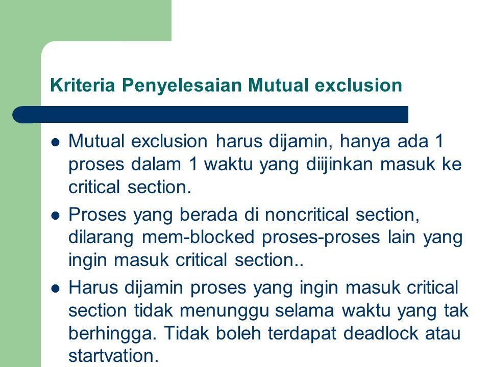Kriteria Penyelesaian Mutual exclusion Mutual exclusion harus dijamin, hanya ada 1 proses dalam 1 waktu yang diijinkan masuk ke critical section.