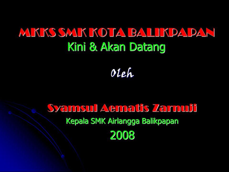 MKKS SMK KOTA BALIKPAPAN Kini & Akan Datang Oleh Syamsul Aematis Zarnuji Kepala SMK Airlangga Balikpapan 2008