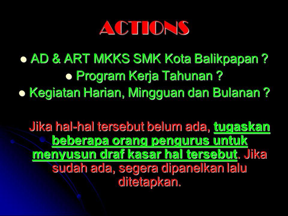 ACTIONS AD & ART MKKS SMK Kota Balikpapan ? AD & ART MKKS SMK Kota Balikpapan ? Program Kerja Tahunan ? Program Kerja Tahunan ? Kegiatan Harian, Mingg