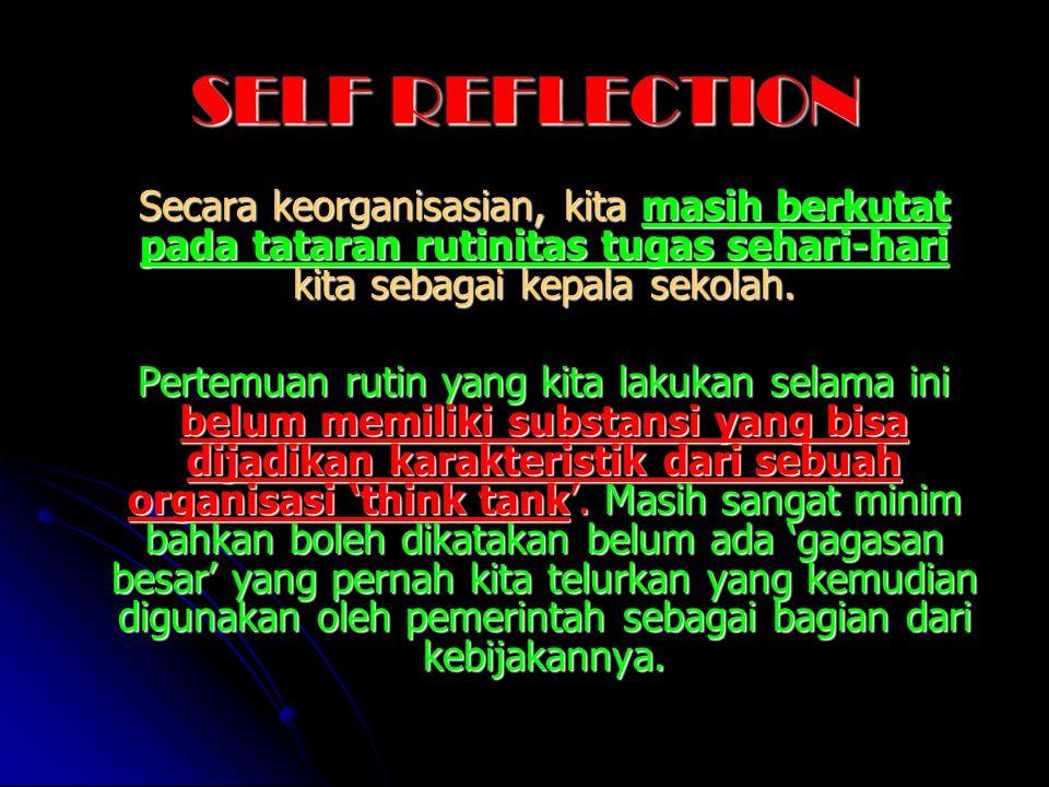 SELF REFLECTION Secara keorganisasian, kita masih berkutat pada tataran rutinitas tugas sehari-hari kita sebagai kepala sekolah. Secara keorganisasian