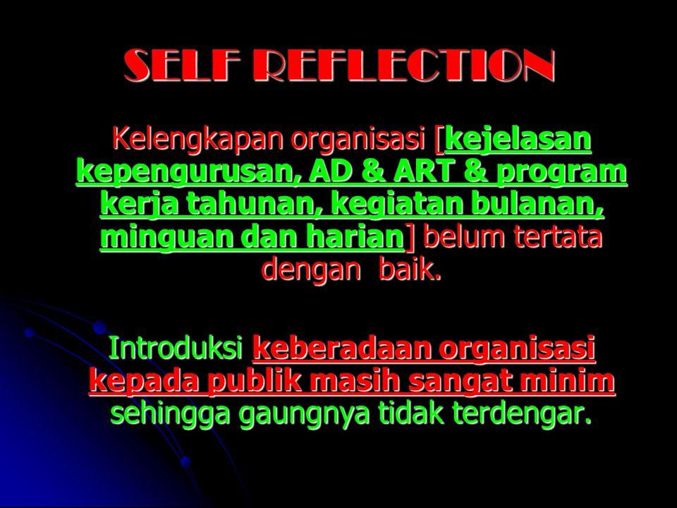 SELF REFLECTION Kelengkapan organisasi [kejelasan kepengurusan, AD & ART & program kerja tahunan, kegiatan bulanan, minguan dan harian] belum tertata