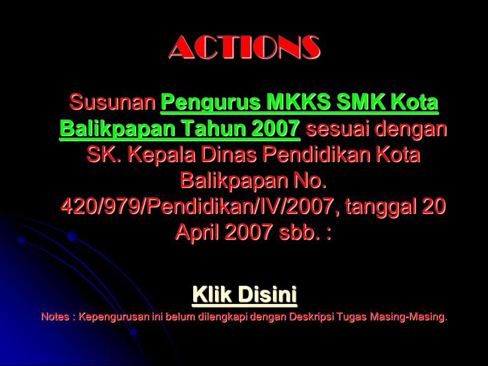 ACTIONS Susunan Pengurus MKKS SMK Kota Balikpapan Tahun 2007 sesuai dengan SK. Kepala Dinas Pendidikan Kota Balikpapan No. 420/979/Pendidikan/IV/2007,