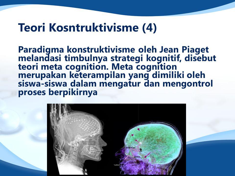 Teori Kosntruktivisme (4) Paradigma konstruktivisme oleh Jean Piaget melandasi timbulnya strategi kognitif, disebut teori meta cognition. Meta cogniti