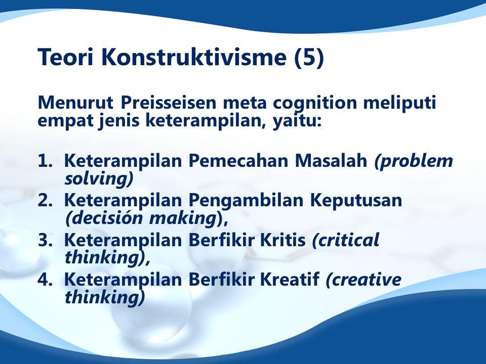 Teori Konstruktivisme (5) Menurut Preisseisen meta cognition meliputi empat jenis keterampilan, yaitu: 1. Keterampilan Pemecahan Masalah (problem solv