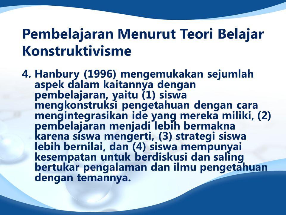 4. Hanbury (1996) mengemukakan sejumlah aspek dalam kaitannya dengan pembelajaran, yaitu (1) siswa mengkonstruksi pengetahuan dengan cara mengintegras
