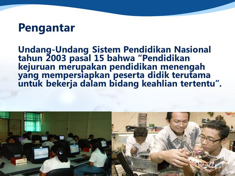 Pengantar Tingginya angka pengangguran di Indonesia saat ini serta rendahnya angka siswa melanjutkan ke perguruan tinggi merupakan beberapa masalah yang harus dipikirkan oleh pengelola sekolah kejuruan.