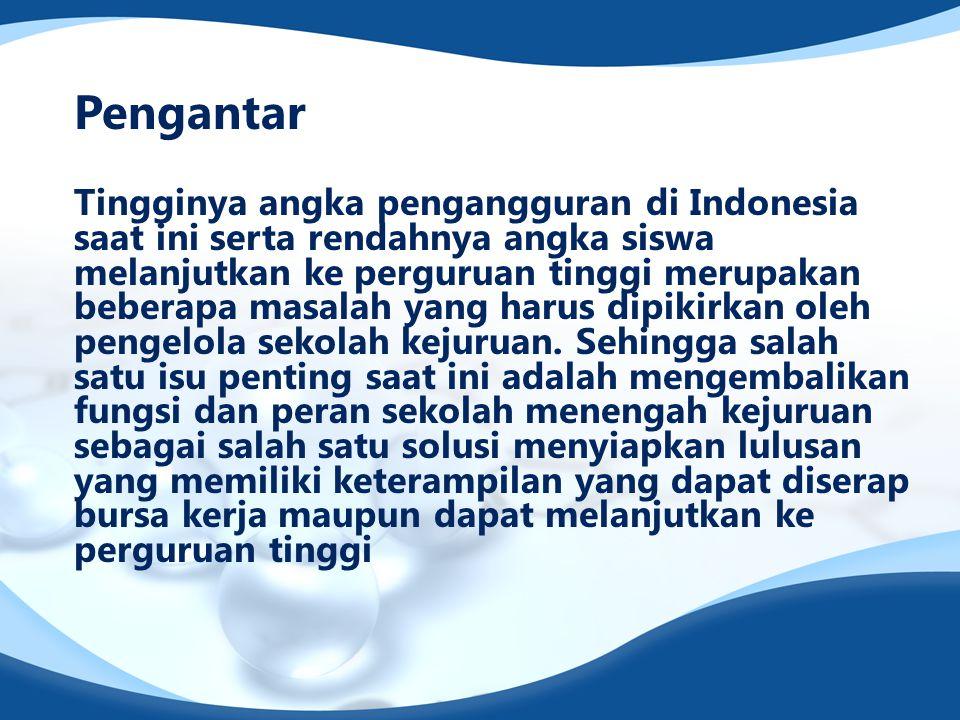 Pengantar Tingginya angka pengangguran di Indonesia saat ini serta rendahnya angka siswa melanjutkan ke perguruan tinggi merupakan beberapa masalah ya