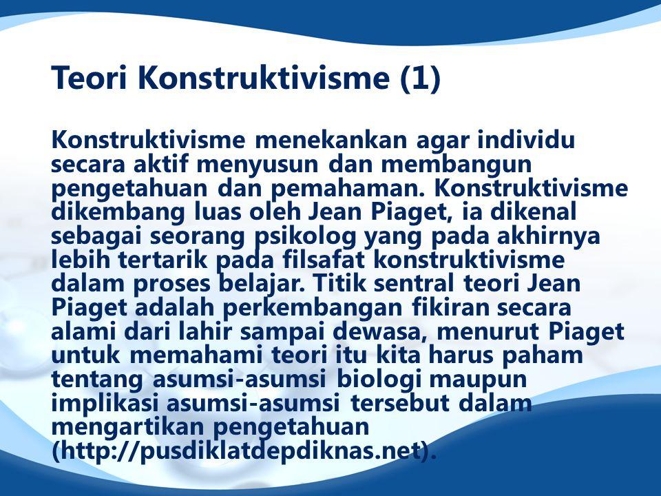 Teori Konstruktivisme (1) Konstruktivisme menekankan agar individu secara aktif menyusun dan membangun pengetahuan dan pemahaman. Konstruktivisme dike