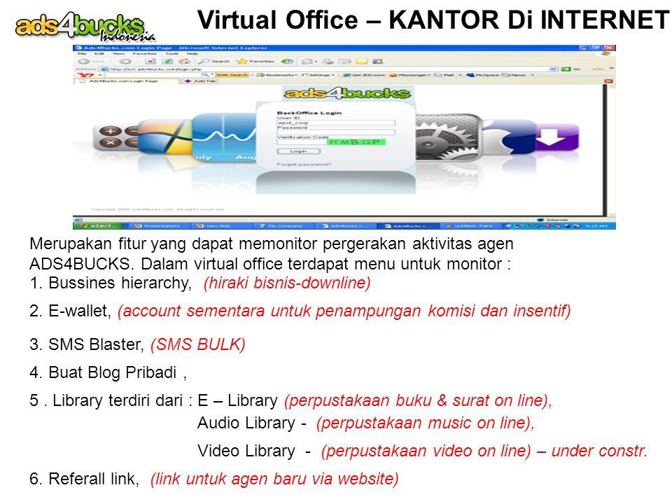 Virtual Office – KANTOR Di INTERNET Merupakan fitur yang dapat memonitor pergerakan aktivitas agen ADS4BUCKS. Dalam virtual office terdapat menu untuk