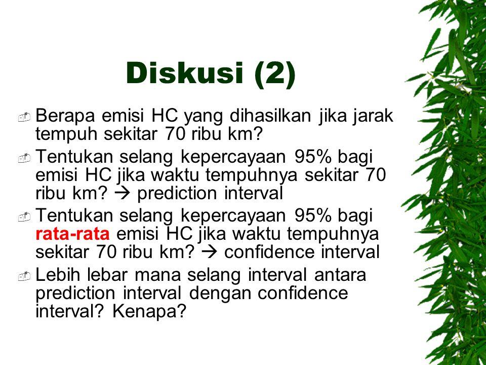 Diskusi (2)  Berapa emisi HC yang dihasilkan jika jarak tempuh sekitar 70 ribu km?  Tentukan selang kepercayaan 95% bagi emisi HC jika waktu tempuhn