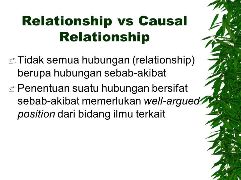 Relationship vs Causal Relationship  Tidak semua hubungan (relationship) berupa hubungan sebab-akibat  Penentuan suatu hubungan bersifat sebab-akiba