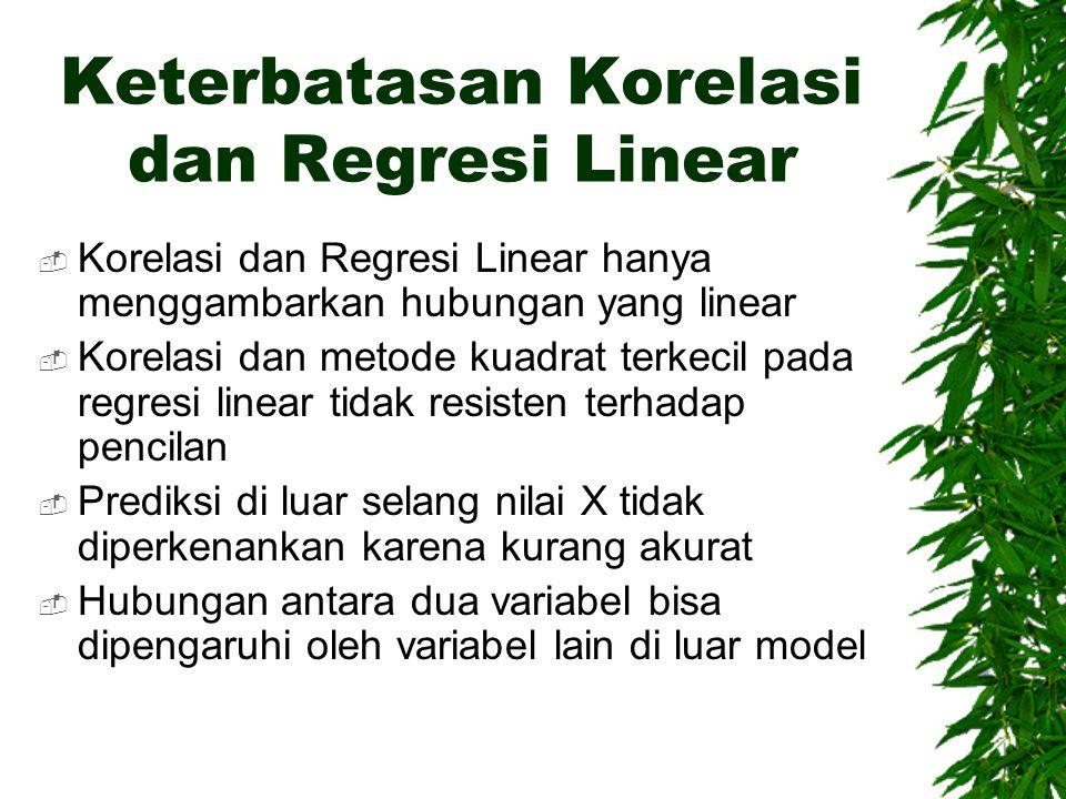Keterbatasan Korelasi dan Regresi Linear  Korelasi dan Regresi Linear hanya menggambarkan hubungan yang linear  Korelasi dan metode kuadrat terkecil