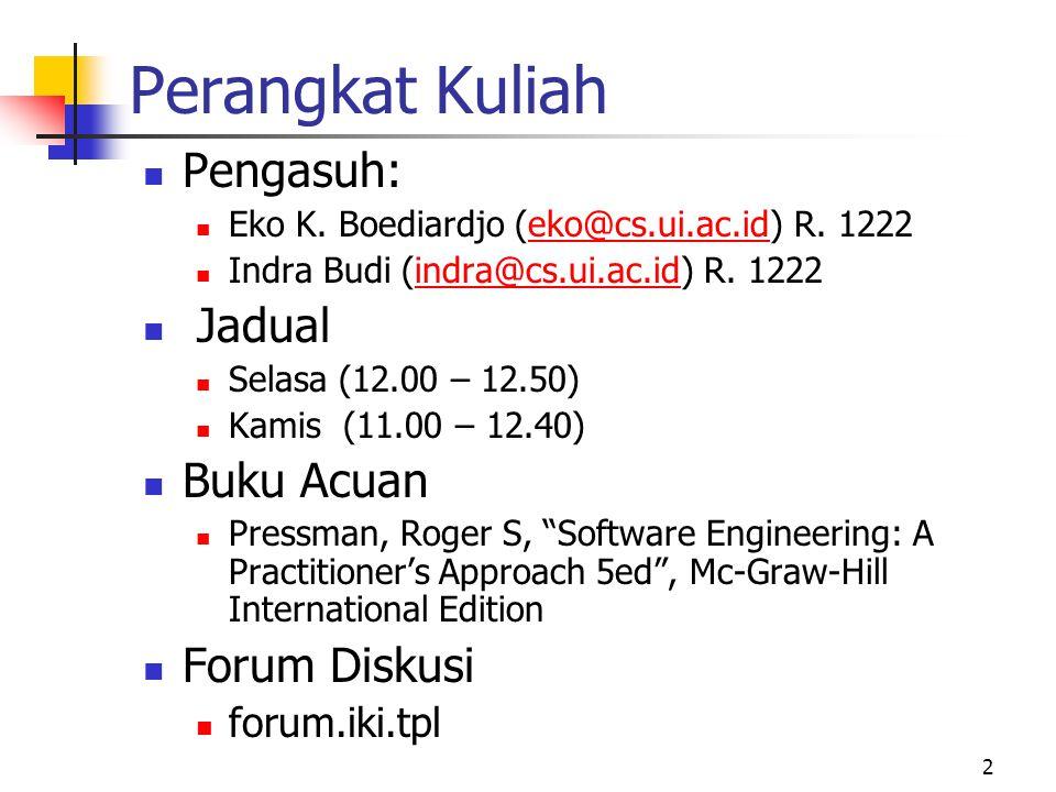 2 Perangkat Kuliah Pengasuh: Eko K. Boediardjo (eko@cs.ui.ac.id) R.
