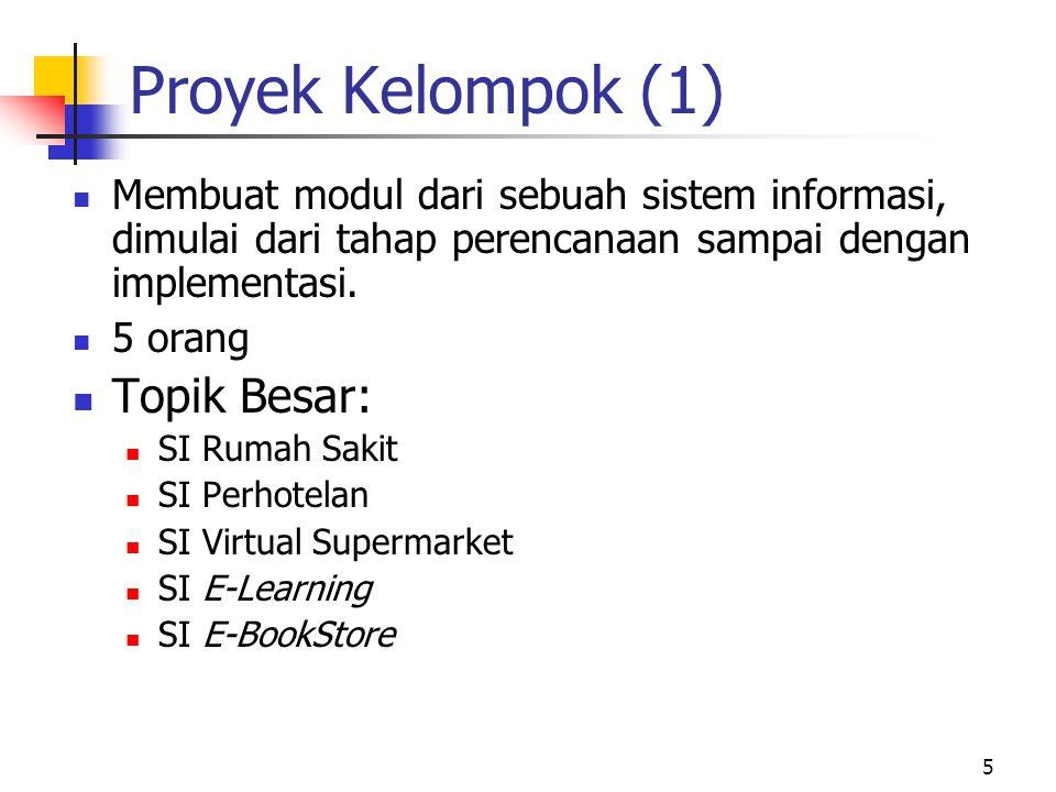 5 Proyek Kelompok (1) Membuat modul dari sebuah sistem informasi, dimulai dari tahap perencanaan sampai dengan implementasi.