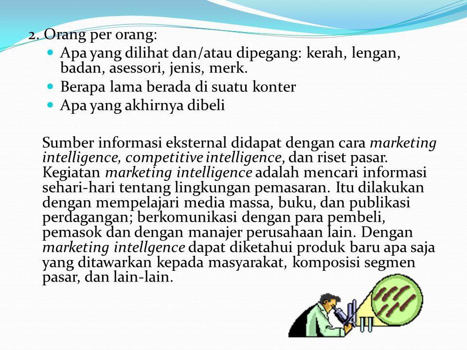 Competitive intelligence berkaitan dengan studi tentang para pesaing, yaitu tentang produk (fitur, harga, dll), organisasi perusahaan, pemilik/pemodal, pemasok, pangsa pasar, dan informasi lain-lain tentang mereka.