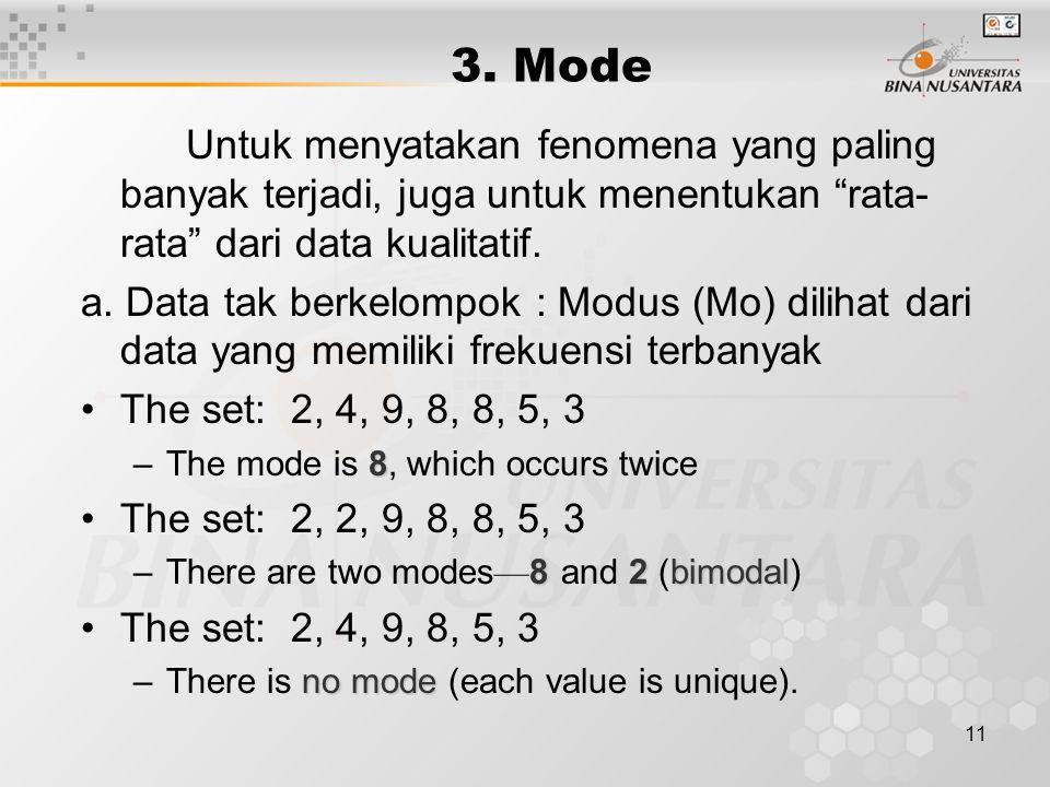 """11 3. Mode Untuk menyatakan fenomena yang paling banyak terjadi, juga untuk menentukan """"rata- rata"""" dari data kualitatif. a. Data tak berkelompok : Mo"""