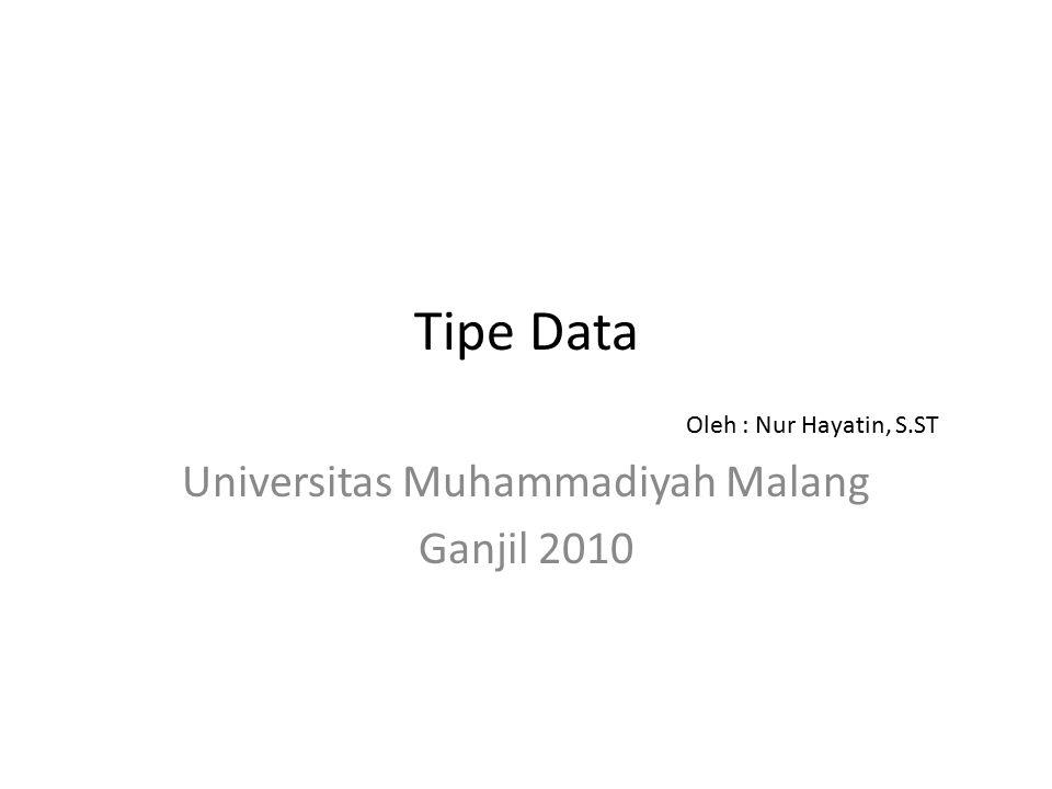 Tipe Data Universitas Muhammadiyah Malang Ganjil 2010 Oleh : Nur Hayatin, S.ST