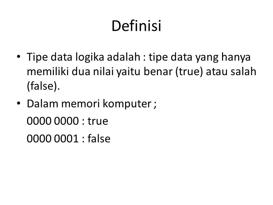 Definisi Tipe data logika adalah : tipe data yang hanya memiliki dua nilai yaitu benar (true) atau salah (false). Dalam memori komputer ; 0000 0000 :