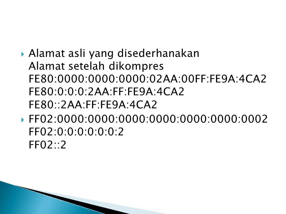  Alamat asli yang disederhanakan Alamat setelah dikompres FE80:0000:0000:0000:02AA:00FF:FE9A:4CA2 FE80:0:0:0:2AA:FF:FE9A:4CA2 FE80::2AA:FF:FE9A:4CA2