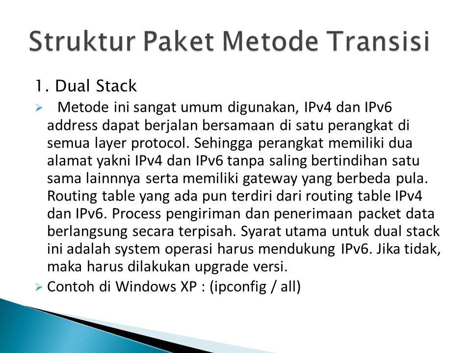 1. Dual Stack  Metode ini sangat umum digunakan, IPv4 dan IPv6 address dapat berjalan bersamaan di satu perangkat di semua layer protocol. Sehingga p