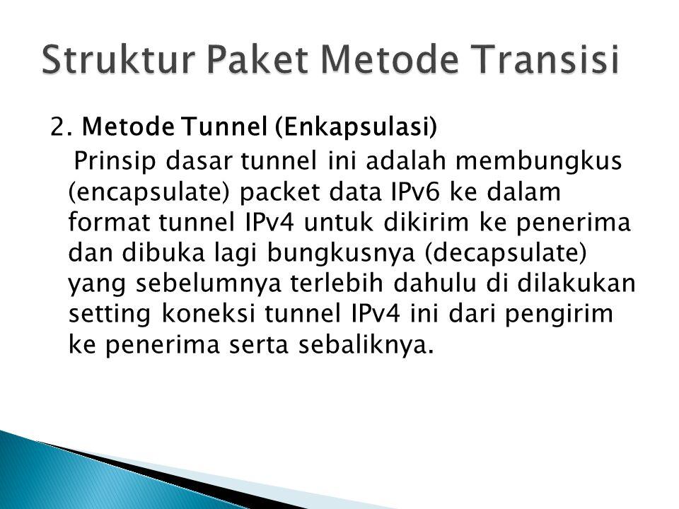 2. Metode Tunnel (Enkapsulasi) Prinsip dasar tunnel ini adalah membungkus (encapsulate) packet data IPv6 ke dalam format tunnel IPv4 untuk dikirim ke