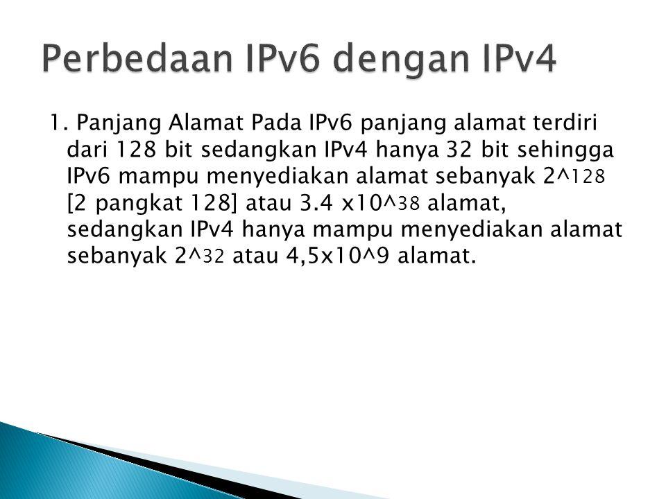 1. Panjang Alamat Pada IPv6 panjang alamat terdiri dari 128 bit sedangkan IPv4 hanya 32 bit sehingga IPv6 mampu menyediakan alamat sebanyak 2^ 128 [2