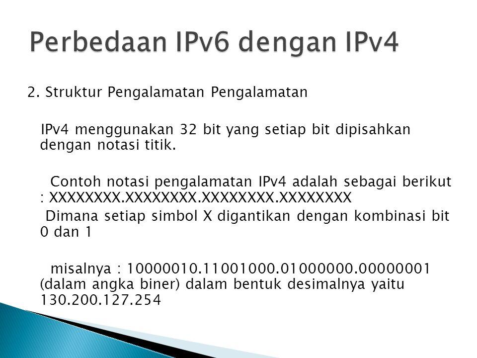 2. Struktur Pengalamatan Pengalamatan IPv4 menggunakan 32 bit yang setiap bit dipisahkan dengan notasi titik. Contoh notasi pengalamatan IPv4 adalah s