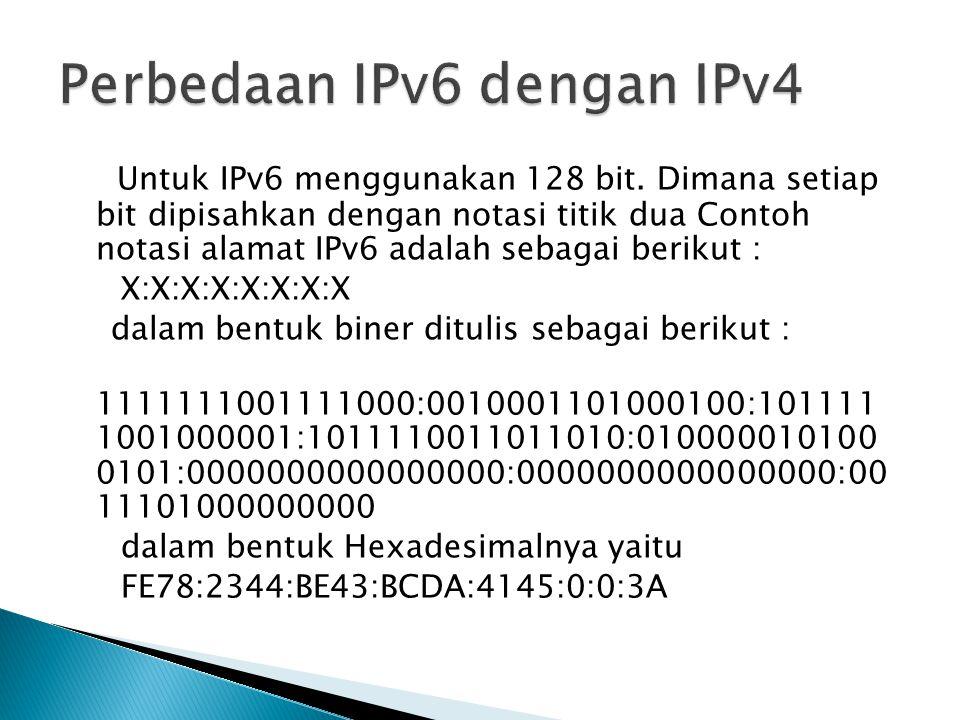 Untuk IPv6 menggunakan 128 bit. Dimana setiap bit dipisahkan dengan notasi titik dua Contoh notasi alamat IPv6 adalah sebagai berikut : X:X:X:X:X:X:X: