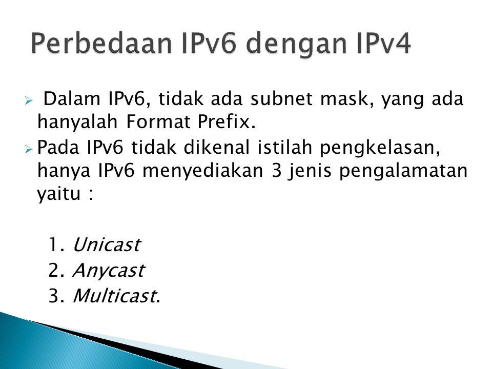  Dalam IPv6, tidak ada subnet mask, yang ada hanyalah Format Prefix.  Pada IPv6 tidak dikenal istilah pengkelasan, hanya IPv6 menyediakan 3 jenis pe