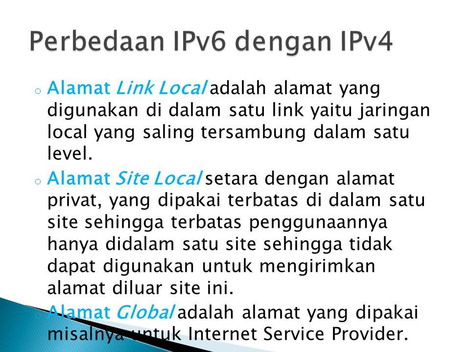 o Alamat Link Local adalah alamat yang digunakan di dalam satu link yaitu jaringan local yang saling tersambung dalam satu level. o Alamat Site Local