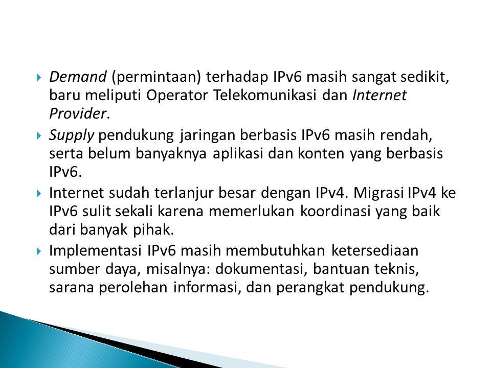 Untuk IPv6 menggunakan 128 bit.
