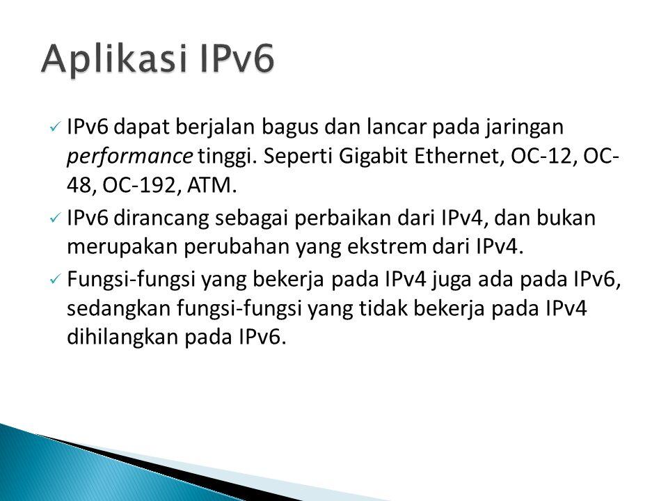 IPv6 dapat berjalan bagus dan lancar pada jaringan performance tinggi. Seperti Gigabit Ethernet, OC-12, OC- 48, OC-192, ATM. IPv6 dirancang sebagai pe