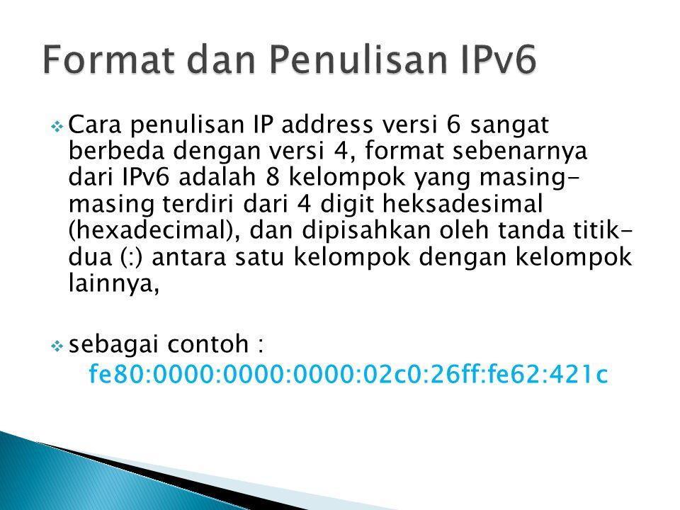  Cara penulisan IP address versi 6 sangat berbeda dengan versi 4, format sebenarnya dari IPv6 adalah 8 kelompok yang masing- masing terdiri dari 4 di