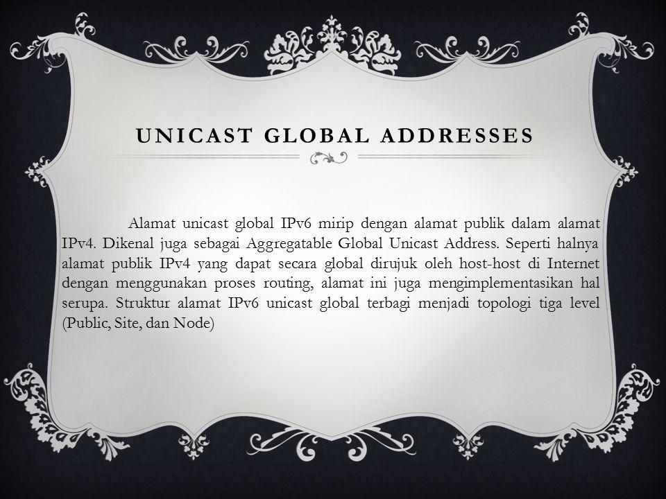 UNICAST GLOBAL ADDRESSES Alamat unicast global IPv6 mirip dengan alamat publik dalam alamat IPv4.