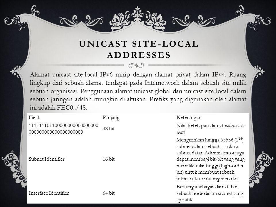 UNICAST SITE-LOCAL ADDRESSES Alamat unicast site-local IPv6 mirip dengan alamat privat dalam IPv4.