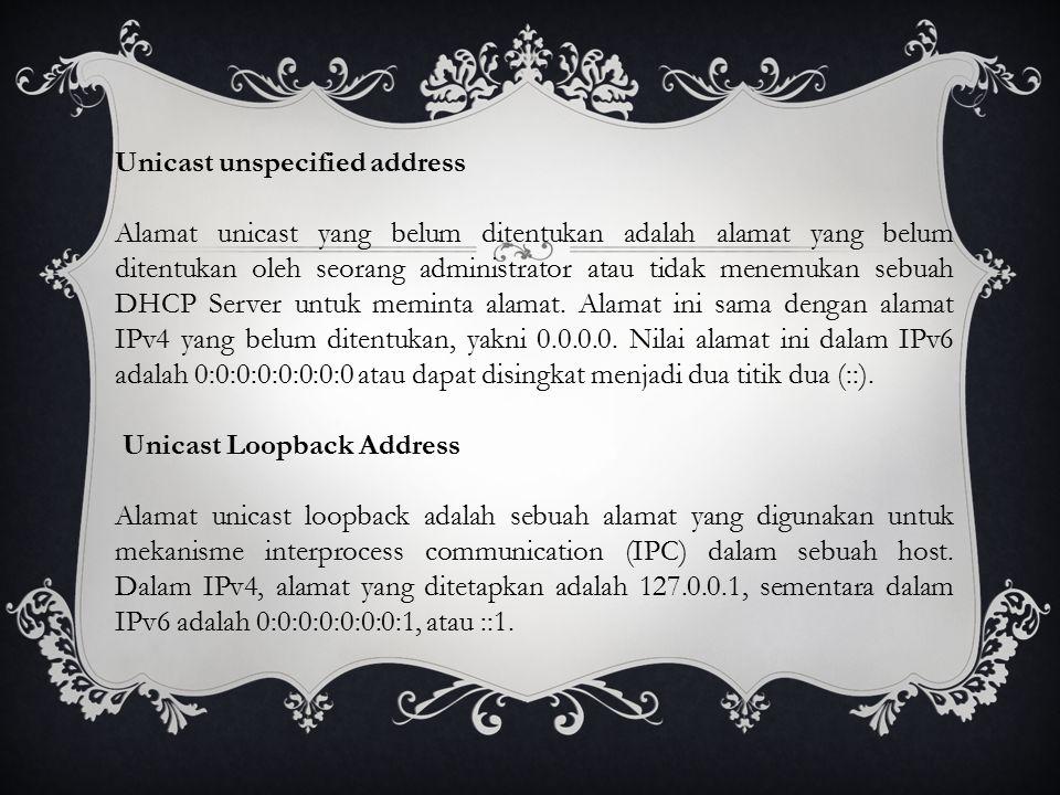 Unicast unspecified address Alamat unicast yang belum ditentukan adalah alamat yang belum ditentukan oleh seorang administrator atau tidak menemukan sebuah DHCP Server untuk meminta alamat.