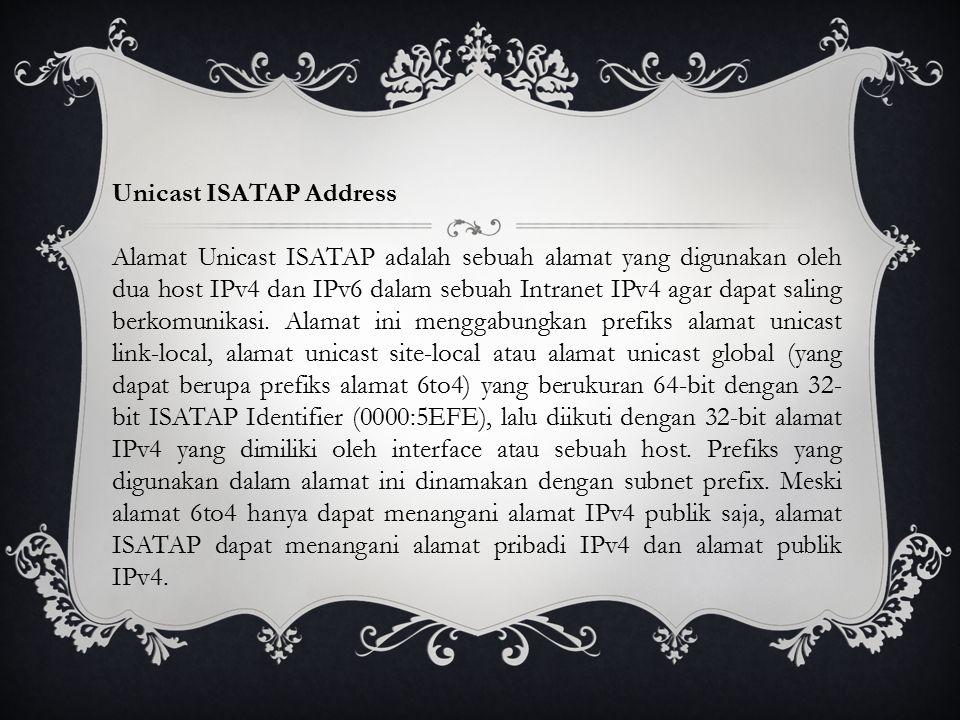 Unicast ISATAP Address Alamat Unicast ISATAP adalah sebuah alamat yang digunakan oleh dua host IPv4 dan IPv6 dalam sebuah Intranet IPv4 agar dapat saling berkomunikasi.