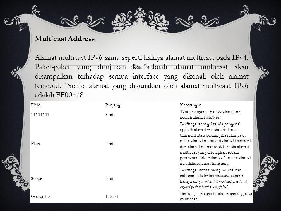 Multicast Address Alamat multicast IPv6 sama seperti halnya alamat multicast pada IPv4.