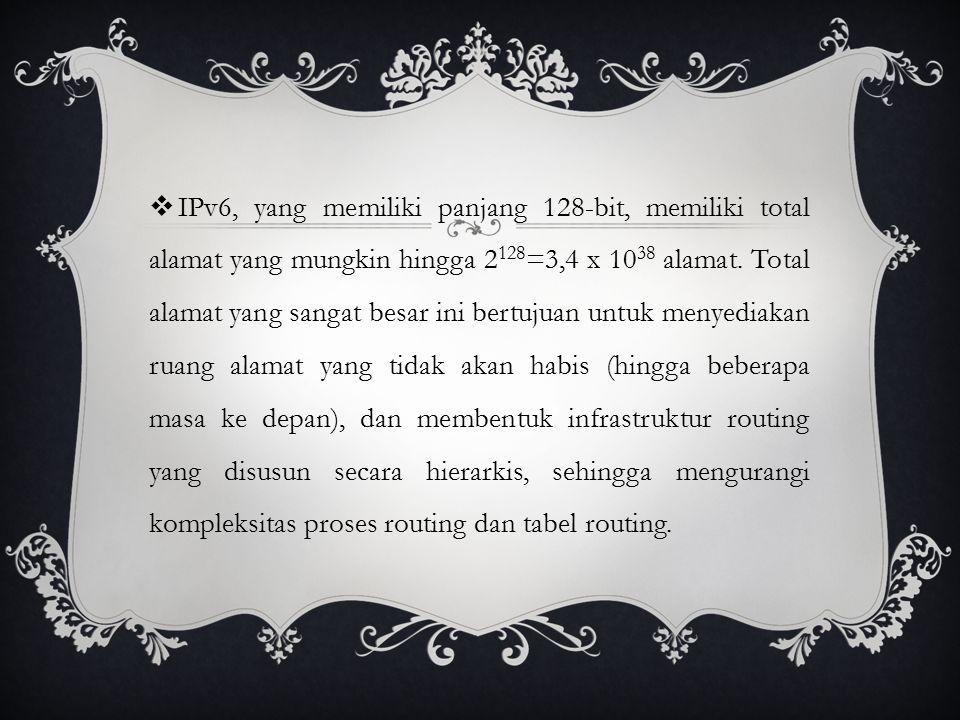  IPv6, yang memiliki panjang 128-bit, memiliki total alamat yang mungkin hingga 2 128 =3,4 x 10 38 alamat.
