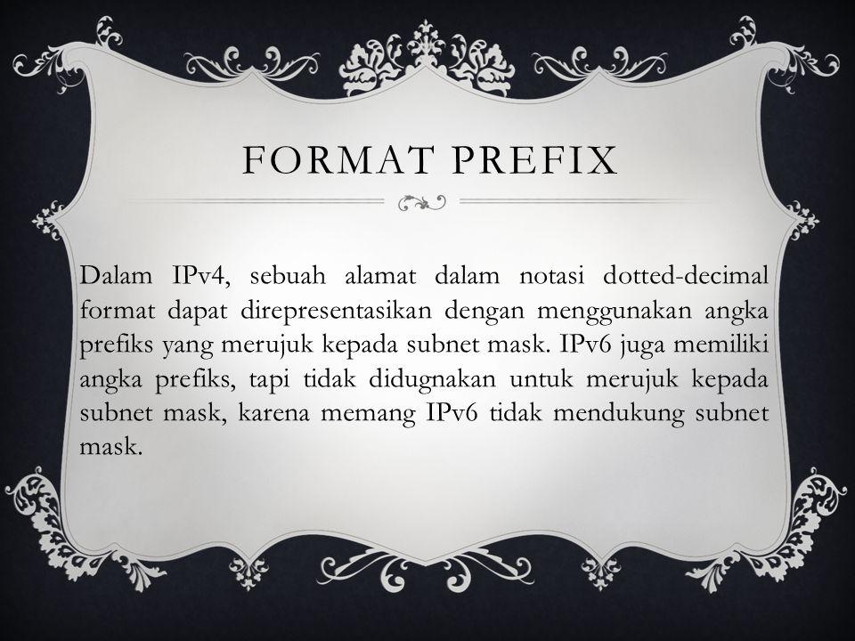 FORMAT PREFIX Dalam IPv4, sebuah alamat dalam notasi dotted-decimal format dapat direpresentasikan dengan menggunakan angka prefiks yang merujuk kepada subnet mask.