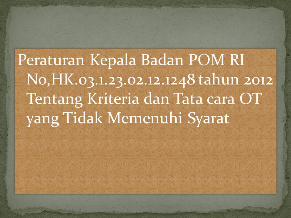 Peraturan Kepala Badan POM RI No,HK.03.1.23.02.12.1248 tahun 2012 Tentang Kriteria dan Tata cara OT yang Tidak Memenuhi Syarat